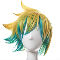 ezreal cosplay hair mixed color hair shaped short anime hair anime party cosplay supplies halloween cosplay