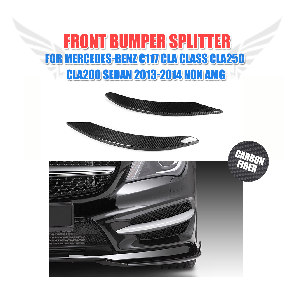 2PCS/Set Carbon Fiber front lamp decorations molding trim for Mercedes Benz C117 CLA Class CLA250 CLA200 Sedan 2013-2014 Non AMG yandex mercedes x156 bumper canards carbon fiber splitter lip for benz gla class x156 with amg package 2015 present
