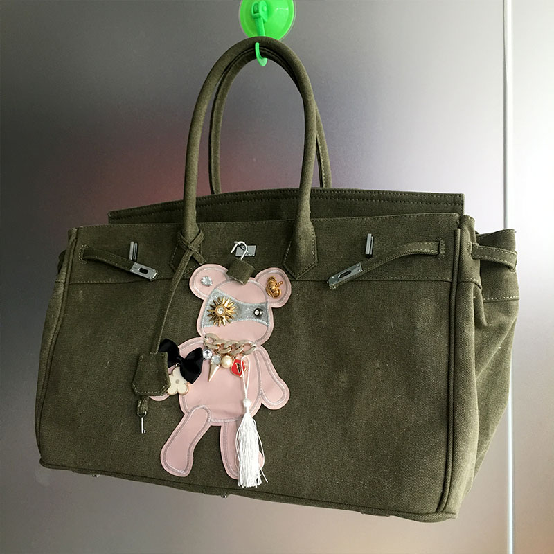 Gamystye Hot sale Girls Casual Canvas Handbag Printing Pink bear patchwork bag big size messenger crosbody bags travel bag bolsa