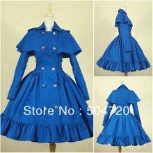 V-1142 Blau kurzhülse baumwolle Gothic Schule Lolita Kleid/viktorianischen kleid Cocktailkleid/halloween-kostüm US6-26