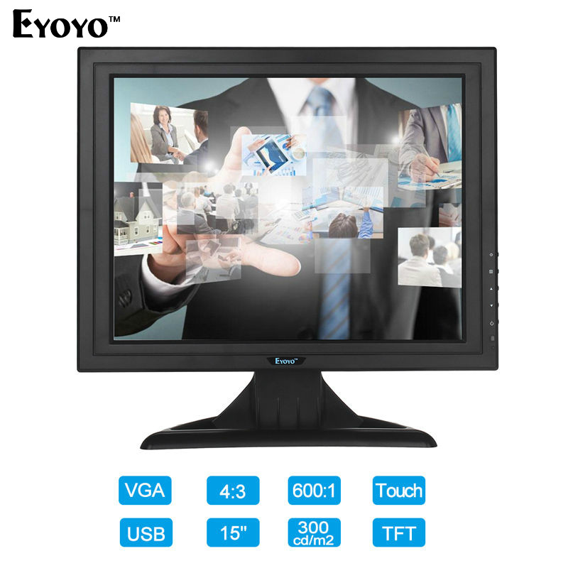Eyoyo C15 TFT VGA 15 Touch Screen LCD POS Monitor Retail Restaurant Bar Pub Touchscreen 1024x768 Free shipping вертикально сверлильный станок jet jdp 10 10000350m