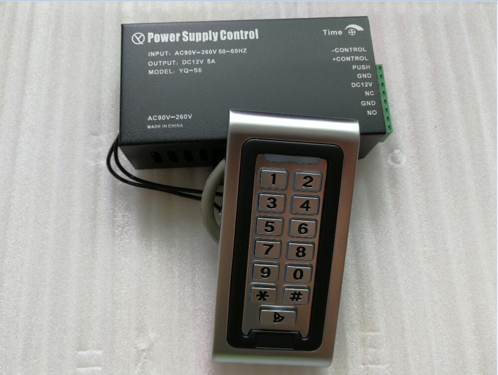 Outdoor Metal Case RFID Keypad Standalone gate door Access Control reader& WG26 125KHz with power supply adapter 12V 5A wg input rfid em card reader ip68 waterproof metal standalone door lock access control with keypad support 2000 card users