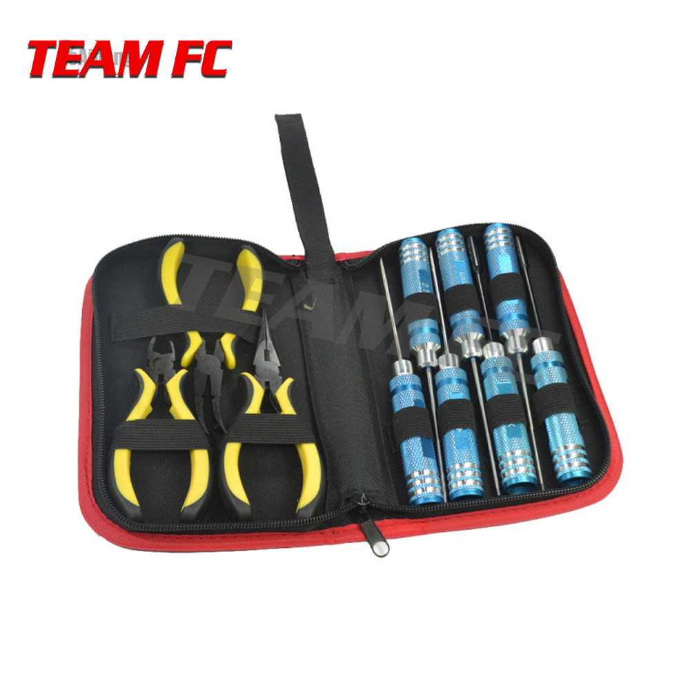Image 3 - 1/10 Screwdriver Hexagon Socket Slotted Diagonal Cutter Ball Link Plier Tools Kit Box Set for RC Quadcopter Helicopter Car S256Parts & Accessories   -