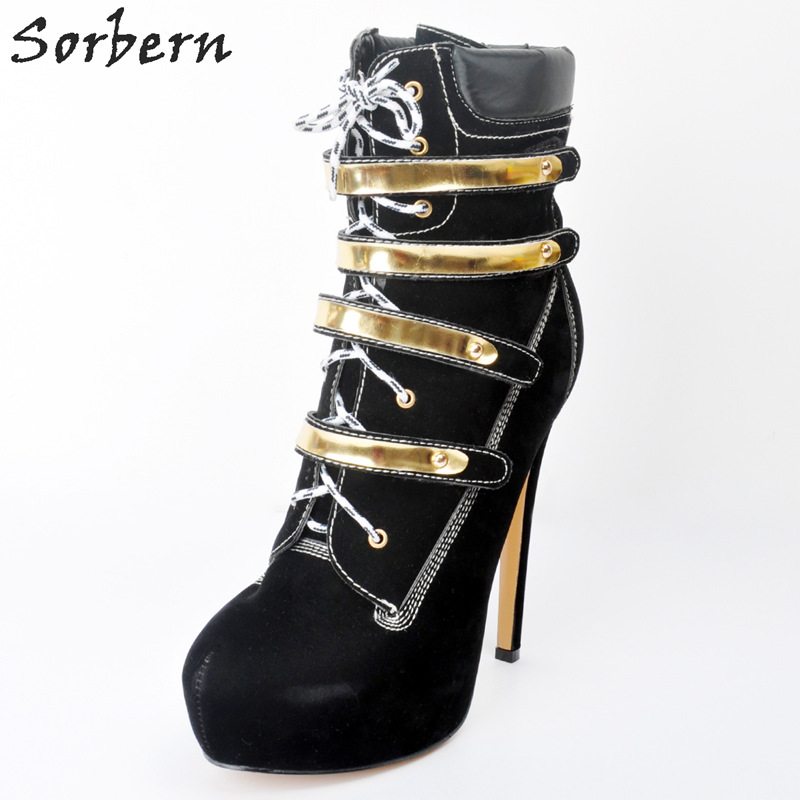 Sorbern Black Lace-up Ankle Boots Plus Size Womens Fashion Boots High Thin Heels Lace Up Botas De Mujer Winter Shoes For Women fashion army green camouflage canvas shoes woman rivets thin high heels boots botas sweet lace up ankle boots women femininas