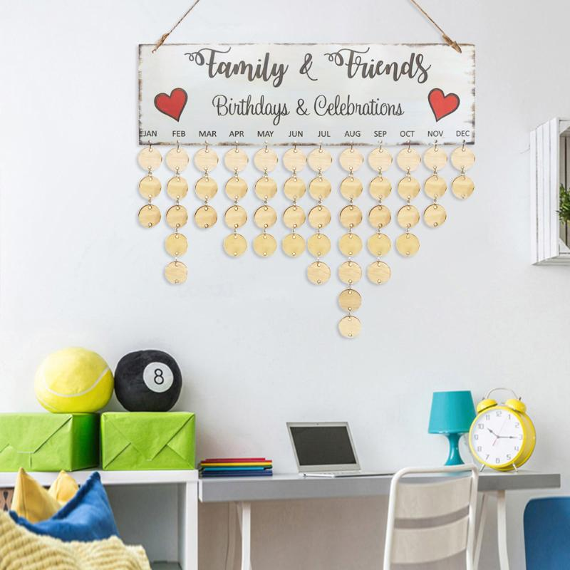VODOOL 2019 Wooden Hanging Calendar Colorful Birthday Reminder Sign Board Family Friends Birthday Reminder Date Mark Home Decor