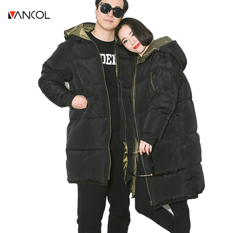ФОТО vancol 2016 russia thickness woman winter coats and jackets hooded unisex black women parka men abrigos mujer female winter jack