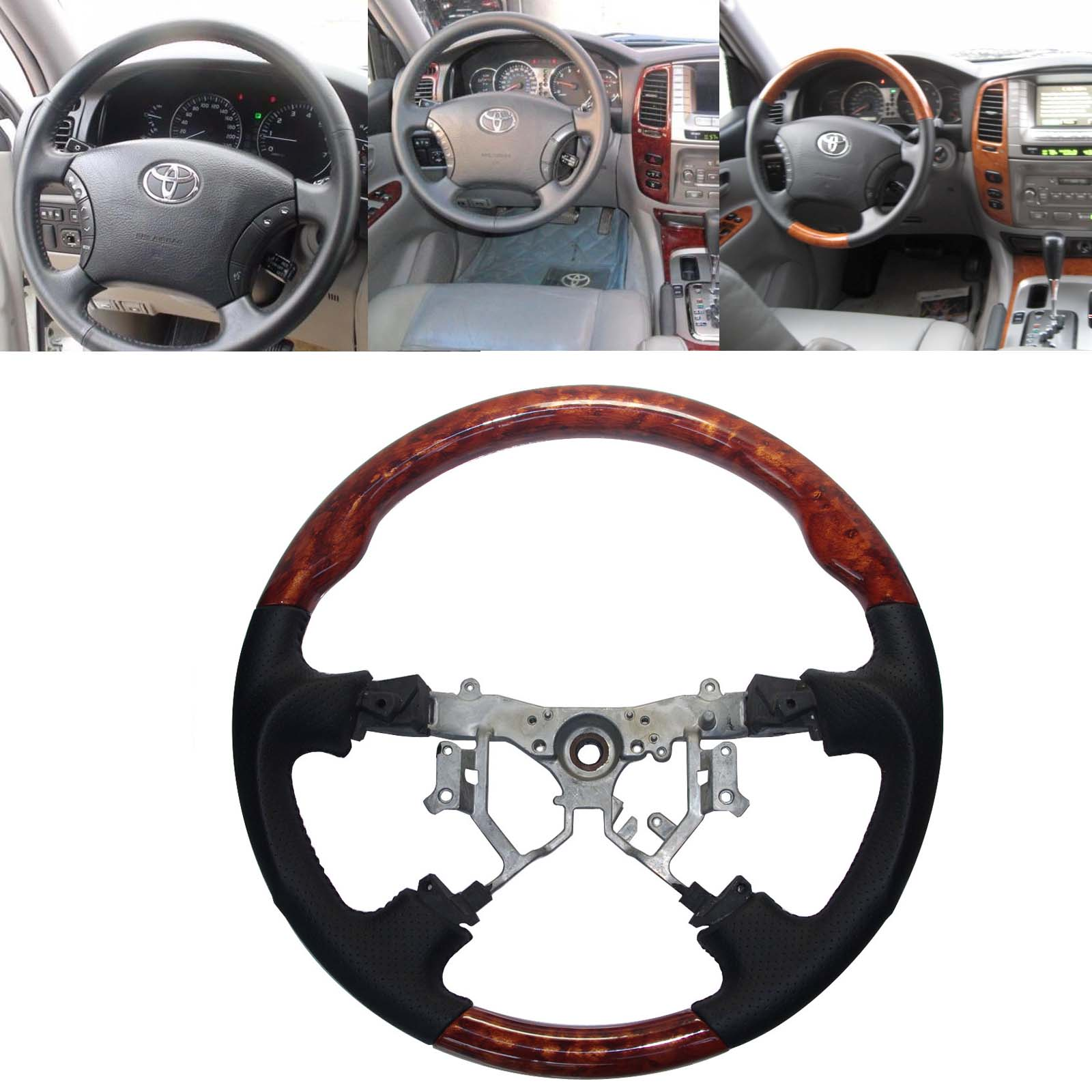 small resolution of black leather wood steering wheel for 2003 2009 toyota 4runner sequoia sienna tundra camry previa tacoma hiace estima hilux