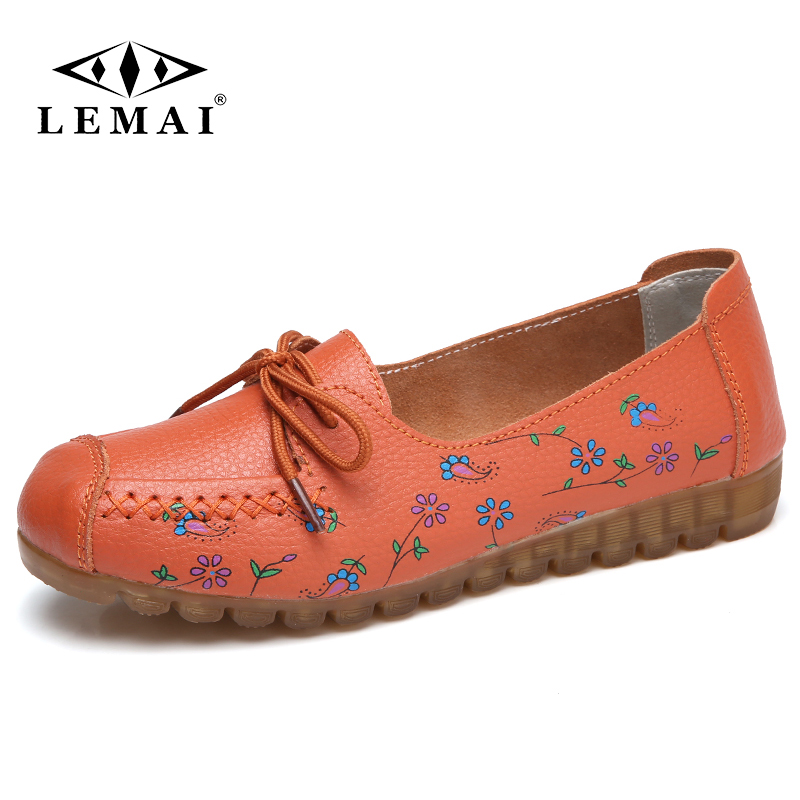 LEMAI Women Casual Shoes Female Genuine Leather Printing Loafers Shoes Plus Size 41 42 Fashion Slip On Shallow Flats Shoes spring summer flock women flats shoes female round toe casual shoes lady slip on loafers shoes plus size 40 41 42 43 gh8