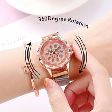 Hot Rotating Lucky Women Watch Luxury Diamond Watch Rose Gold Quartz Wristwatches Ladies Magnetic Clock relogio feminino zegarek