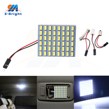 цена на 2PCS 10PCS DC 12V 5630 48 SMD Led Panel Lights 960Lm Dome Roof Bulb Interior Car Reading Light with 3 Adapters Festoon T10 BA9S