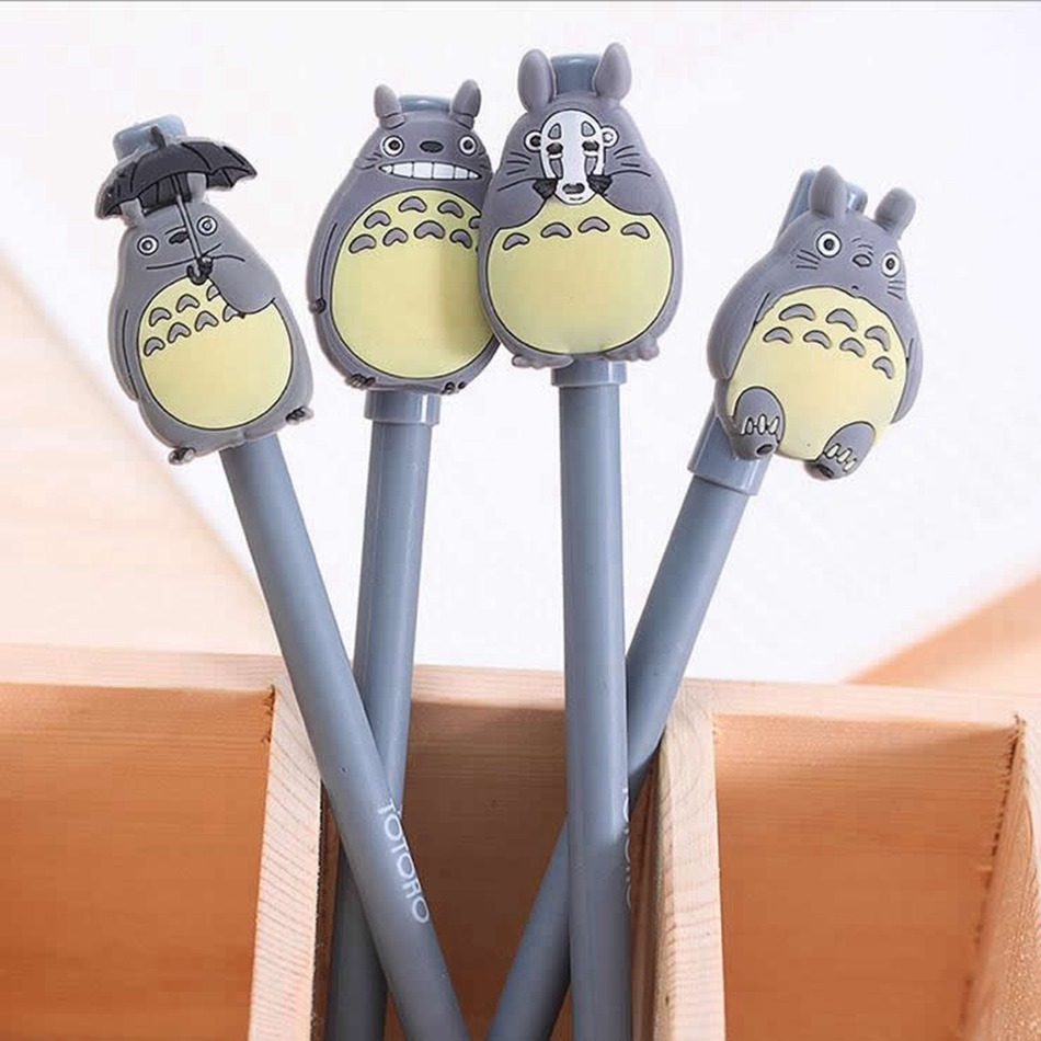 4 pcs 0.38MM Gel Pen Kawaii Cartoon Totoro Stationery Office Learning Cute Unisex Pen Gift For Kids Writing Supplies 5packs lot 10 colors new cute cartoon colored gel pen set kawaii stationery gift office