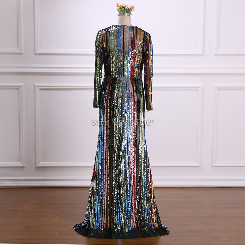 Multi colorful Sequined fabric Plus Size Formal Evening ...