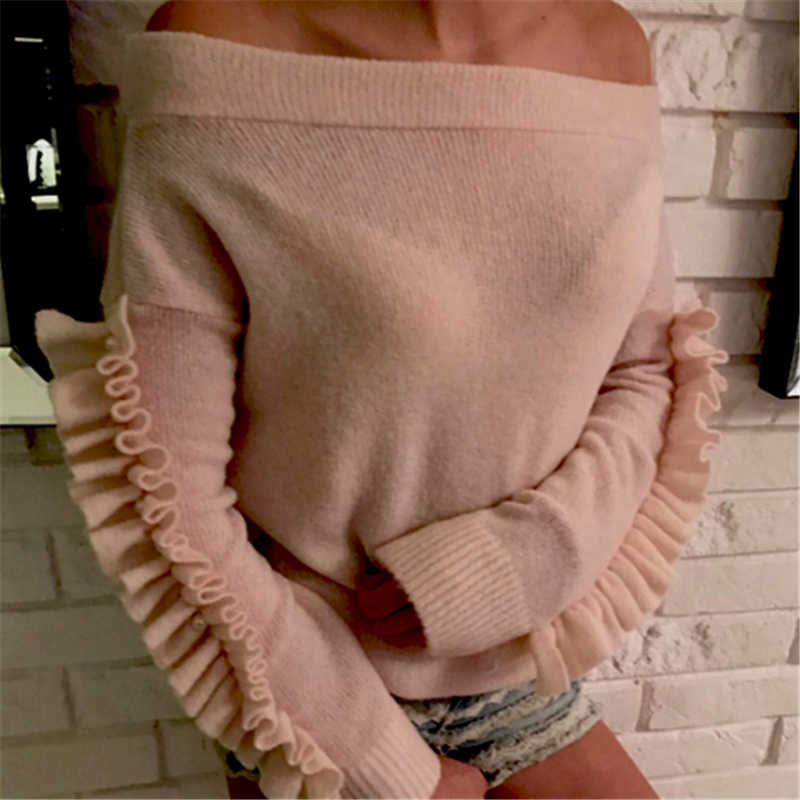 Hirigin 여성 스웨터 숙녀 오프 숄더 그레이 핑크 긴 프릴 슬리브 헐렁한 탑 니트 대형 스웨터 여성 여성