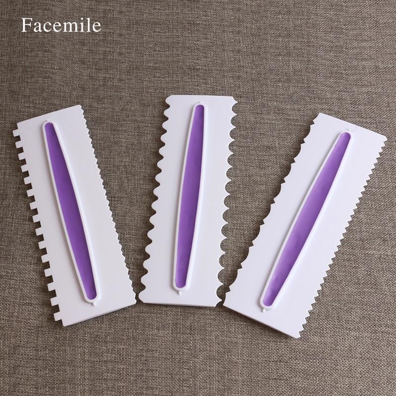 Conjunto Peine De Plástico de Color púrpura 3 unids Icing Fondant Cake Scraper E