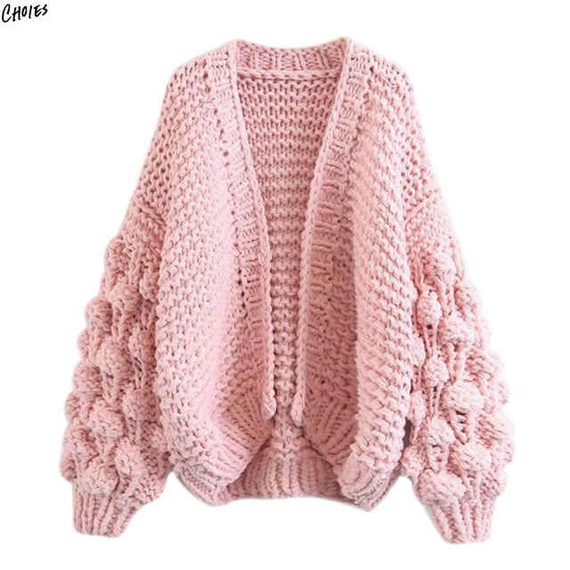 2 Colors Bobble Stitch Long Sleeve Oversized Cardigan Women Drop
