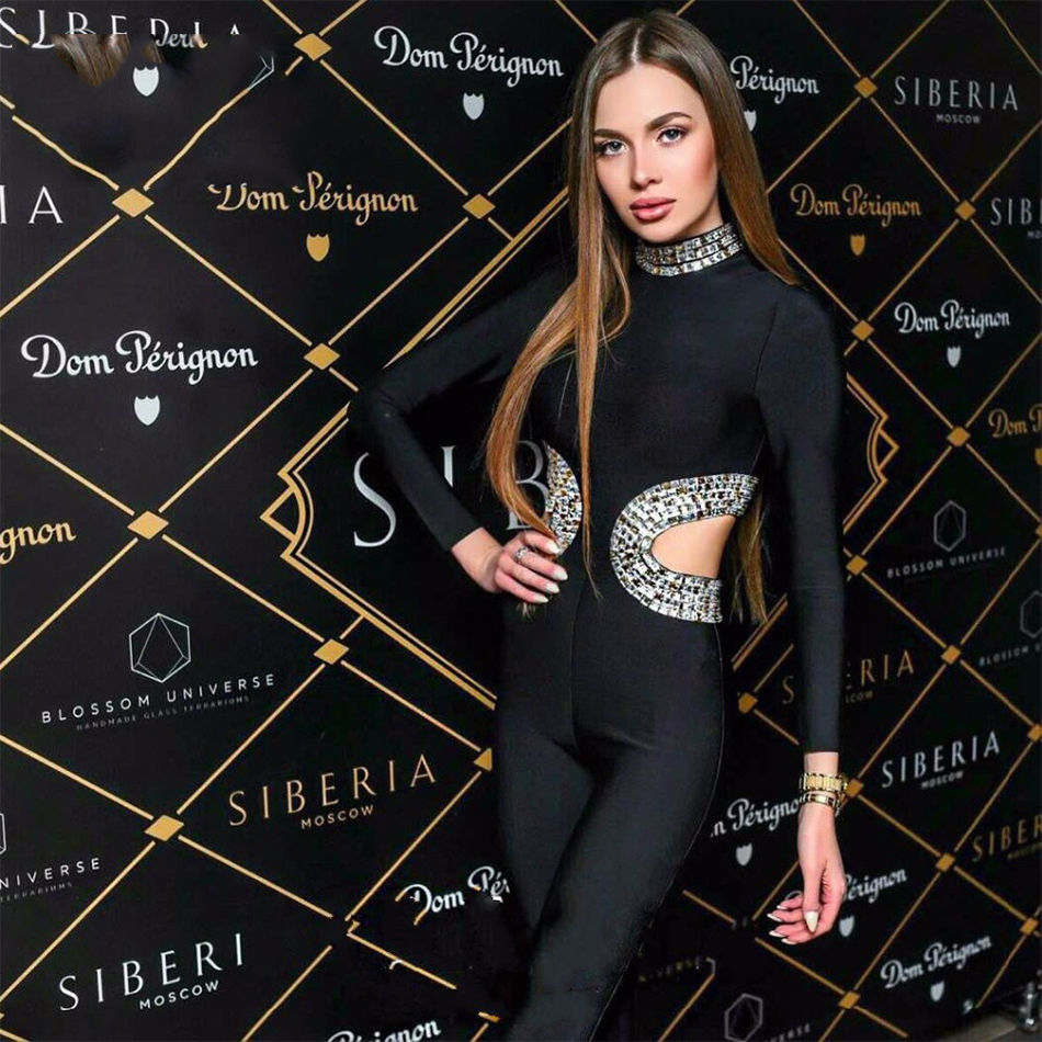 2018 Newest Spring Bandage Jumpsuit Women Celebrity Club Black Long Sleeve O-Neck Beading Full Length Sexy Party Bodysuit Women