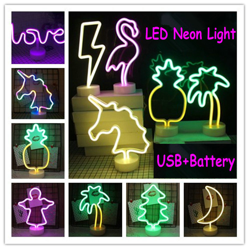 Flamant Étoiles Cactus De Noël Arbre Animal USB Led Néon Arc-En-Lampe de Bureau Accueil Parti Décoration Murale Chapiteau Table Night Light