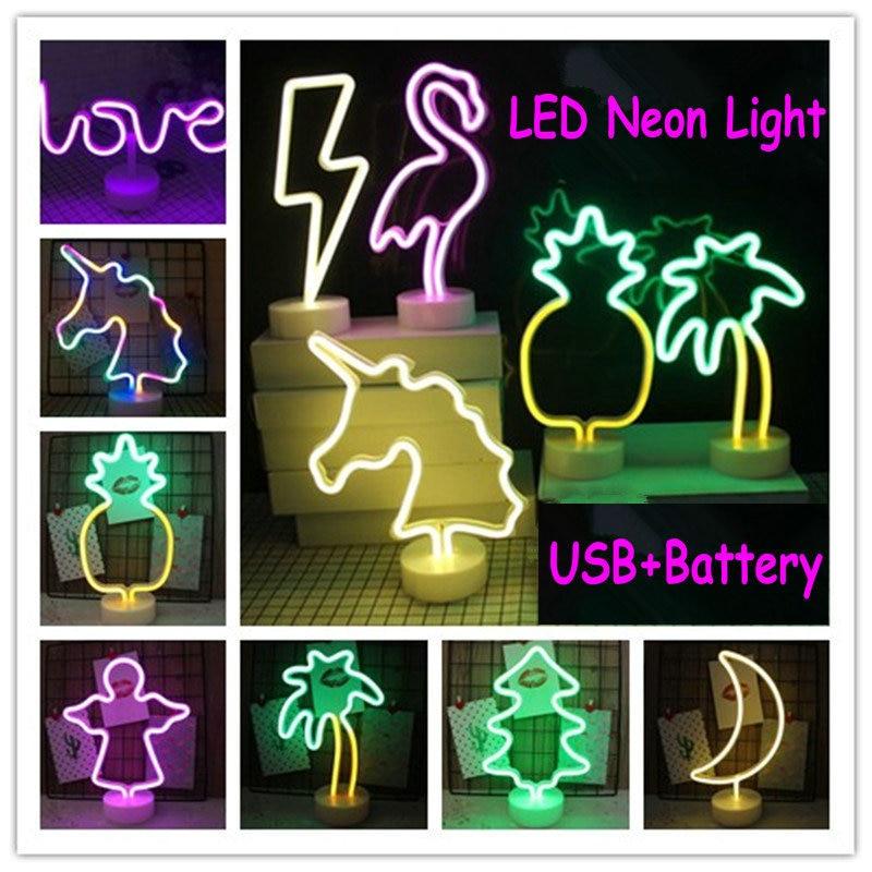 Flamingo Star Kaktus Weihnachten Baum Tier USB Led Neon Regenbogen Schreibtisch Lampe Home Party Wand Dekoration Festzelt Tisch Nacht Licht