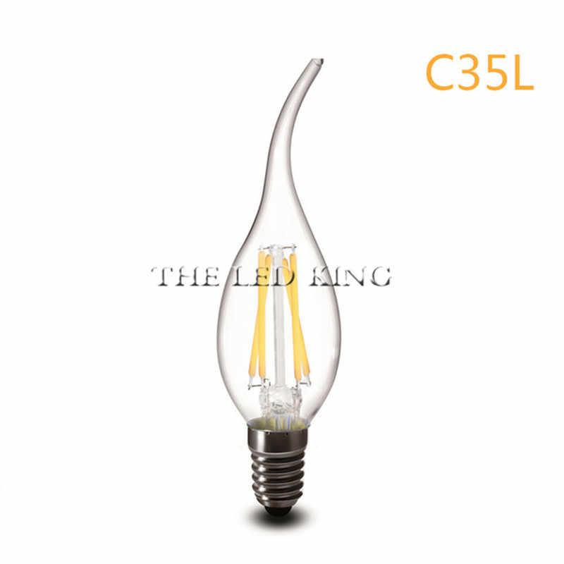 LED bougie ampoule E14 2W 4W 6W AC 220V 110V rétro antique verre Edison lampe Vintage C35 Filament lumière 360 degrés