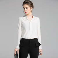 New Spring And Autumn V Collar Woman Shirts With Long Sleeve White Female Chiffon Blouse HLN518