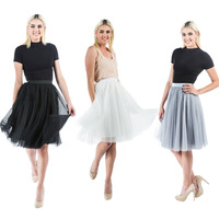 Women 2 Layer Pleated Bling Gauze Tulle Bouffant Elastic Waist Ball Gown Midi Skirt