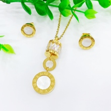 цены Luxury Gold Roman Numeral Necklace Earring Set For Women Wedding Party Silver 316L Stainless Steel Jewelry Set Gift