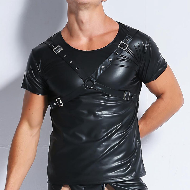 Men Black T shirt Faux Leather Wetlook Tops Short Sleeve Slim Tight Shirts Designed Muscle Club Tees Tops 2019 Males T shirt Tee in T Shirts from Men 39 s Clothing