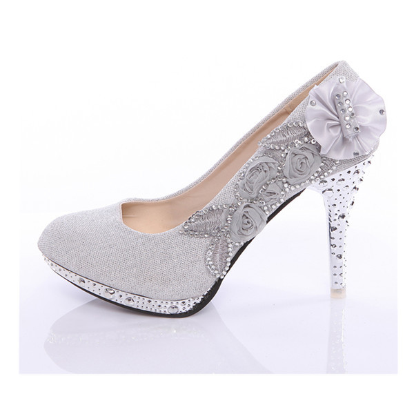 Crystal Rose Flower Evening Party Court Shoes