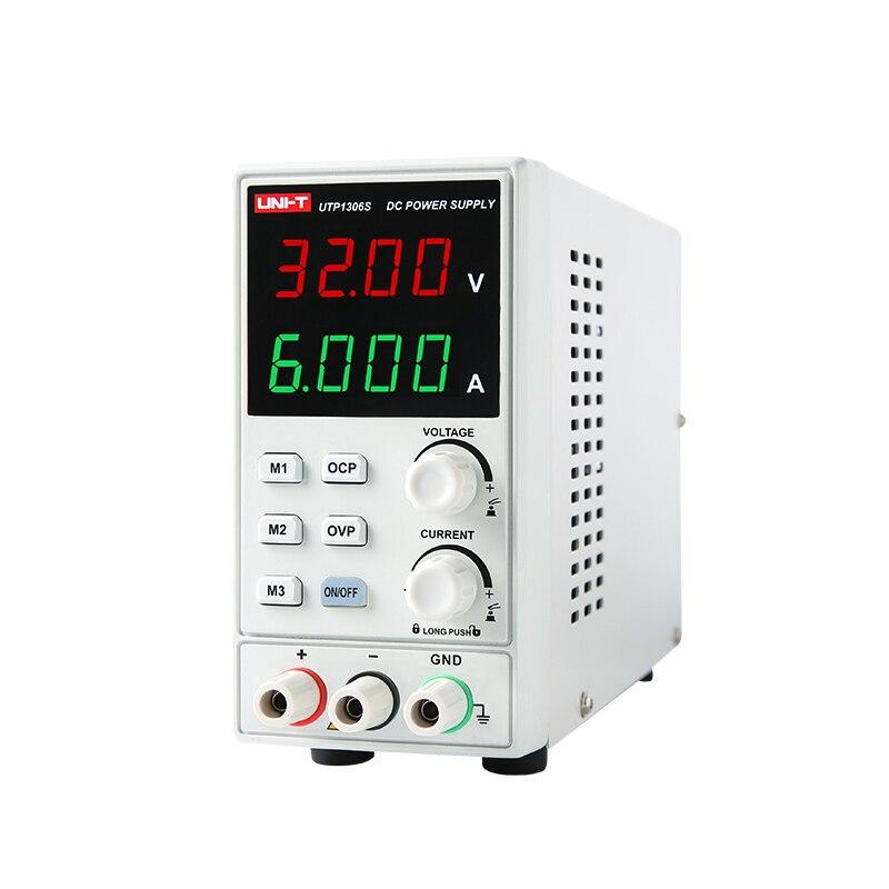 UNI-T UTP1306S Comutação De fonte de Alimentação DC 4 0-32V 0-6A Dígitos Display LED De Alta Precisão Ajustável Mini fonte de alimentação CA 220V 50Hz