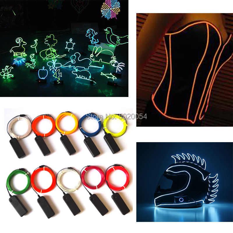 3,2 мм 3V контроллер Костюмы мотоциклетный шлем Декор свечение EL провода кабеля светодиодный неоновые гибкие автомобильный светильник