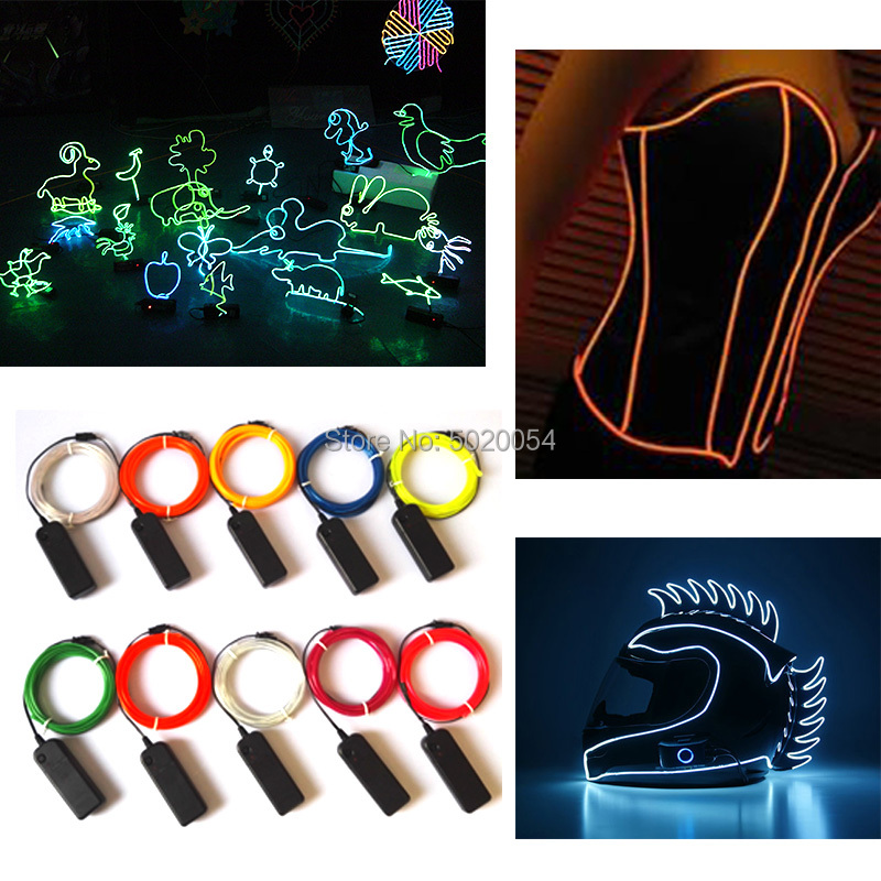 3.2mm 3V Controller Clothing Motorcycle Helmet Decor Glow EL Wire Cable LED Neon Flexible Neon Car Light