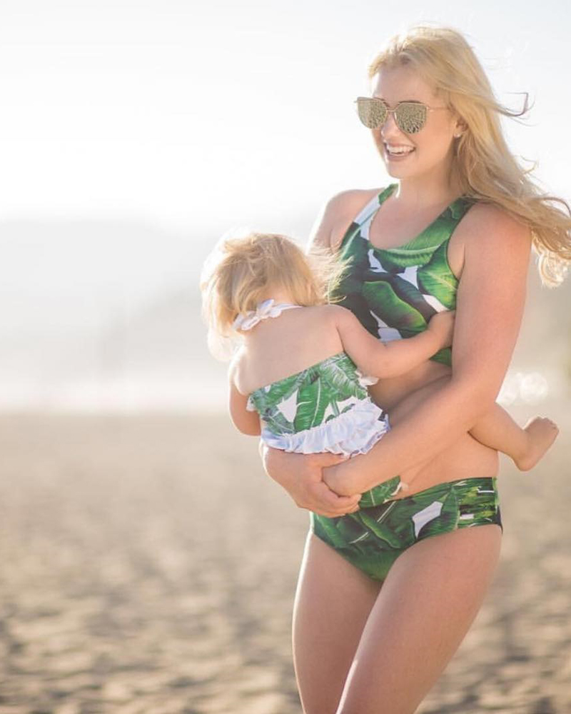 Matching mom daughter palm leaf crop top swimsuit