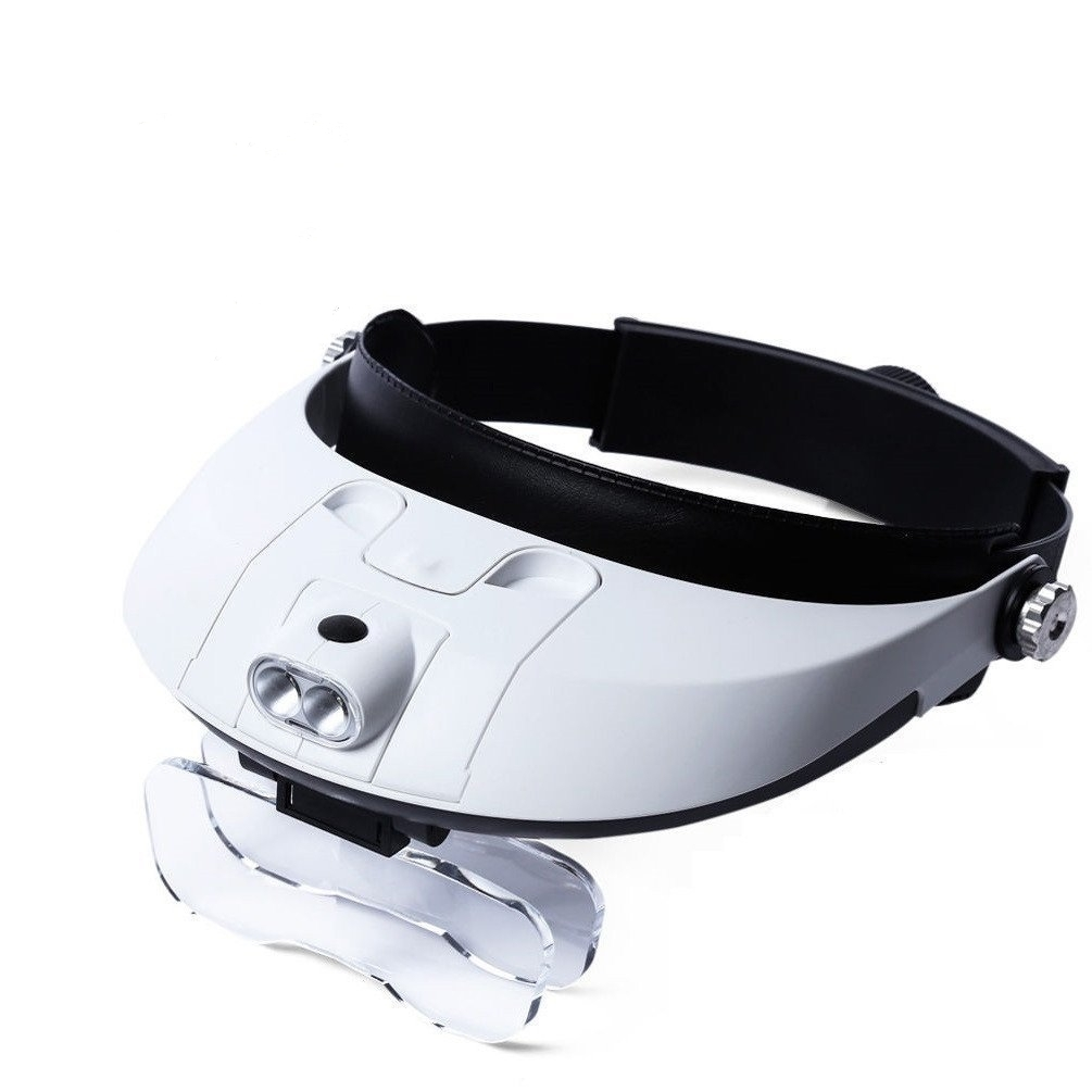 Lupa de diadema 1X a 3.5X Zoom con 5 lente manos libres lupa gafas para leer lupa de joyería reloj reparación electrónica