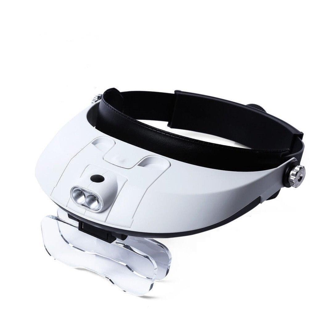 Stirnband Lupe 1X Zu 3.5X Zoom Mit 5 Objektiv Hände Freies Vergrößerungs Brille Zum Lesen Schmuck Lupe Uhr Elektronische Reparatur