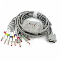 Compatível Para Schiller AT1/AT2/CS6/CS100/AT101 10 leva Cabo de ECG com leadwires ECG Médica EKG Cabo de Banana 4.0 End AHA