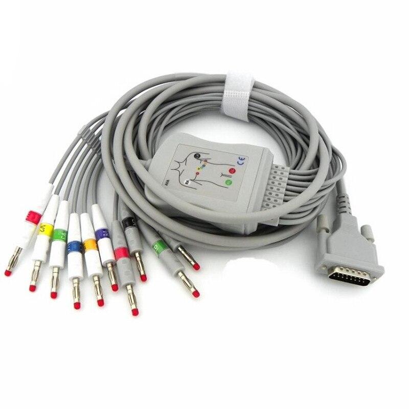 Compatible pour Schiller AT1/AT2/CS6/CS100/AT101 ECG EKG câble avec fils de plomb 10 fils médical EKG câble 4.0 banane fin AHA