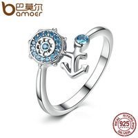 BAMOER Popular 100 925 Sterling Silver Blue Crystal Anchor Finger Ring For Women Fashion Jewelry 14mm