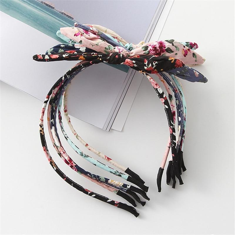 1 PCS Fashion Printing Hairband Fabric Bow Knot Hair Hoop Rabbit Ears Turban Headbands For Headwear Women Girls Hair Accessories