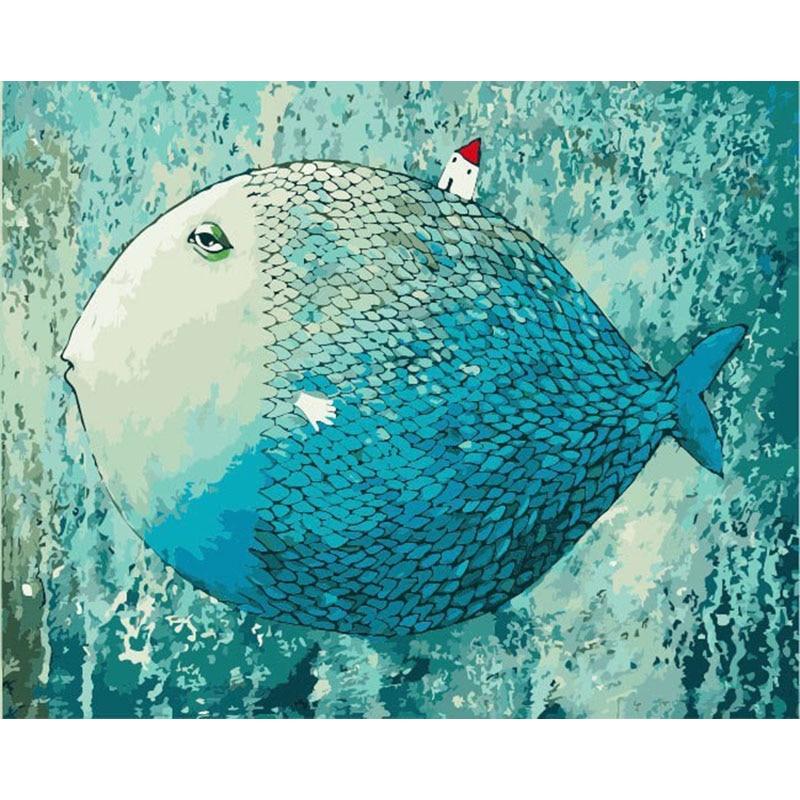 Sin marco Casa de pescado animales DIY pintura por números arte ...