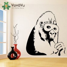 Banksy Vinyl Wall Decal Gorilla One Color Monkey with Mask Home Decor Sticker Chimp Street Art Graffiti Decal DIY Mural NY-55