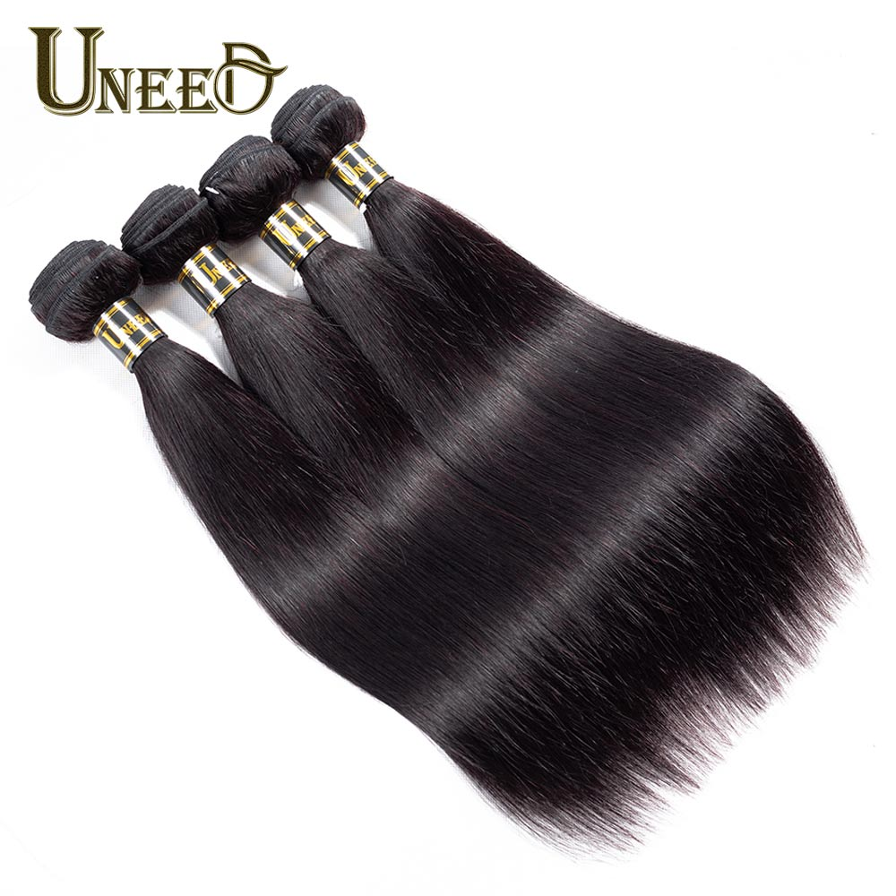 Uneed Hair 4 Bundles Peruvian Straight Hair Human Hair Extensions Double Weft Remy Hair Weave Bundles