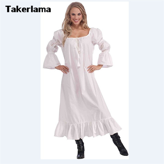 disponible grand choix de 2019 regarder € 18.38 23% de réduction|Costume de Chemise médiévale pour femmes longue  Robe de Costume de Style paysan blanc pour fête d'halloween noël Mardi Gras  ...