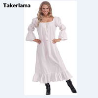 Women S Medieval Chemise Costume Long White Peasant Style Costume Robe Dress For Halloween Party Christmas