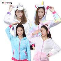 Star Unicornio Hoodies Animal Cartoon Unicorn Sweatshirts Tracksuits Women Hoodies Women Winter Hooded Jacket Coat Top Femme