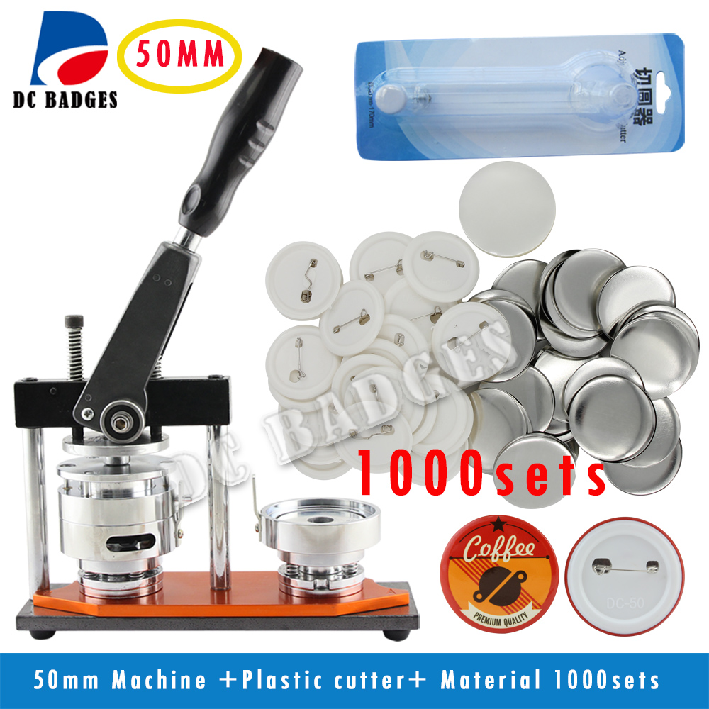 Manufacturers wholesa 50mm Rotary Badge Button Maker Machine + Adjustable Circle Cutter+1000 Sets Pinback Badge Material free shipping new pro 1 1 4 32mm badge button maker machine adjustable circle cutter 500 sets pinback button supplies