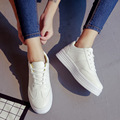 Pink White Creepers Casual Female Sewing Solid Womens Shoes Round Toe Platform Students Flats Lace Up Soft Leather Grils Low Top