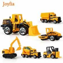 6 pçs/set mini liga de engenharia modelo de carro trator brinquedo caminhão basculante escavadeira empilhadeira modelo veículos brinquedos educativos para meninos