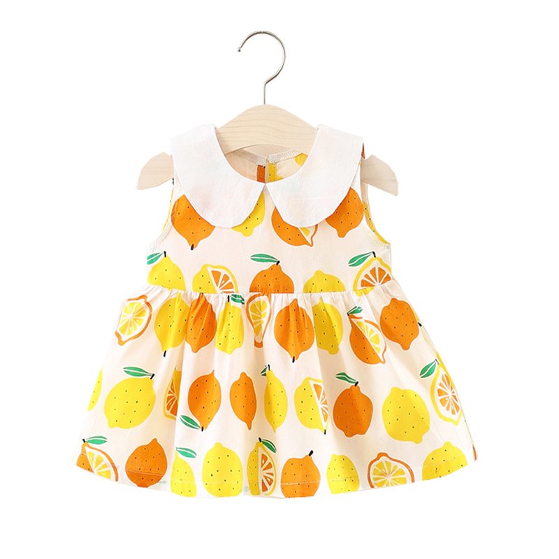 Baby Girls Dress 2018 Summer New Casual Dresses for Newborns Lemon Ptinted Cute Baby Dress Infant Children Princess Clothing