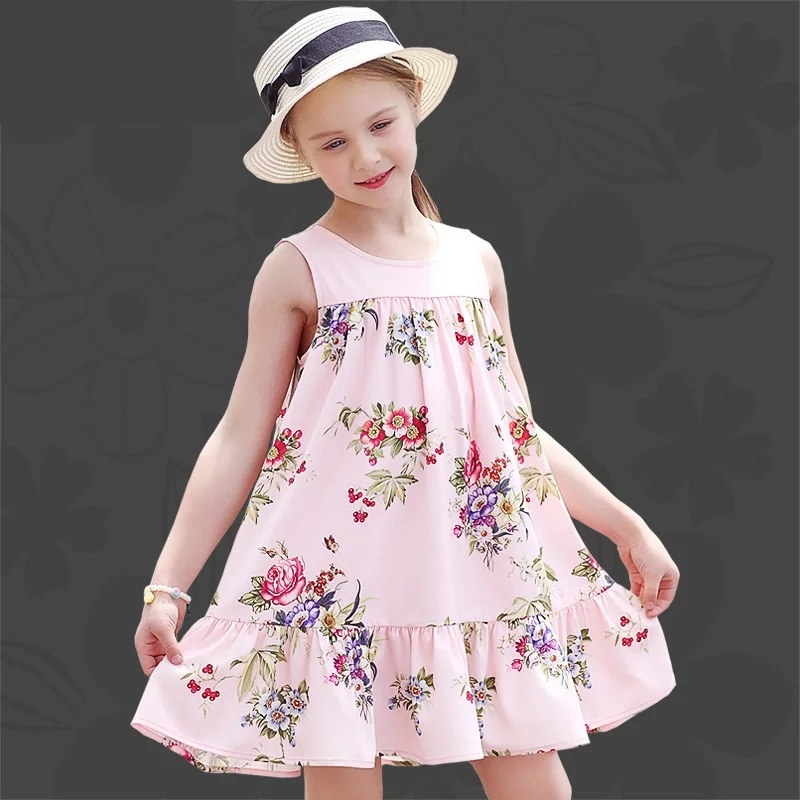Summer children clothes infant girl clothing casual holiday sleeveless print mermaid dress sister look kids girls beach sundress