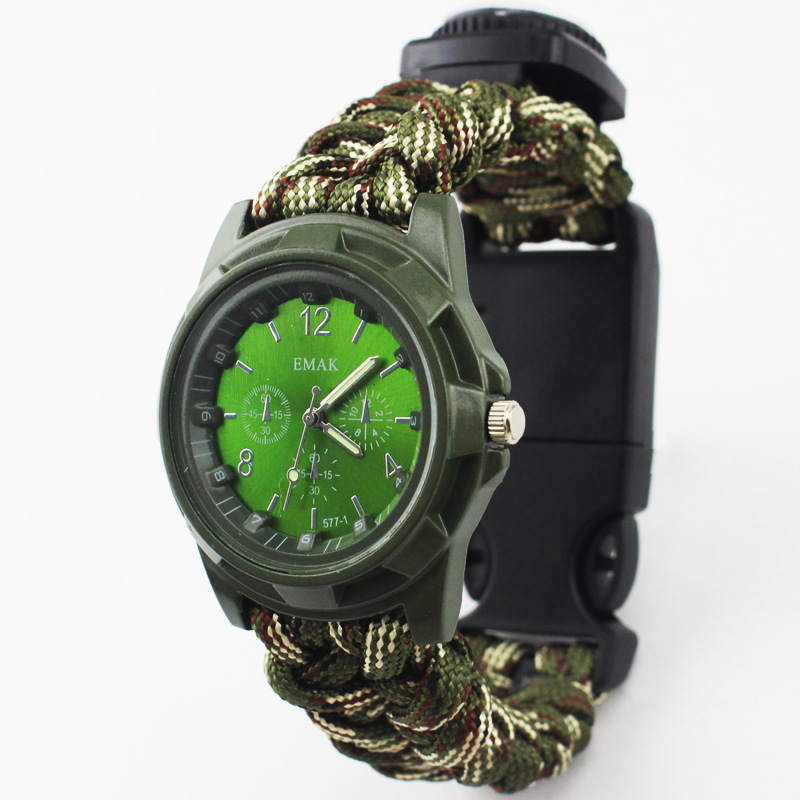Outdoor Camping Multi-functional watch survival watch Compass Thermometer Rescue Rope Paracord Bracelet Equipment Tools kit